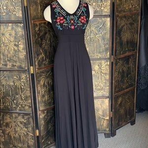 Caite black embroidered bodice maxi dress